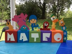 I might try to make letter boxes my self...pink amd blue Maybe maybe  Centro de mesa Pocoyo!!