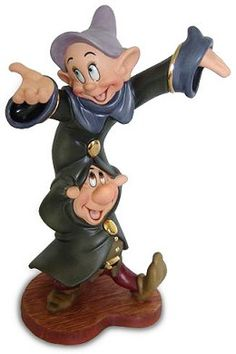 WDCC Disney Classics Snow White Dopey And Sneezy Dancing Partners #WDCCDisneyClassics #Art.  Dopey's Coat Buttons & Sleeve Trim: Gold metallic paint. Sneezy's Belt Buckle & Shirt Buttons: Gold metallic paint. Spring Event-1999. Closed 03/99.