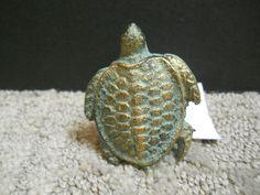 Cast Iron Verdigris & Gold Turtle Cabinet Knob Drawer Pull Nautical Beach Decor #Unbranded
