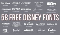 Download more than 50 free Disney Fonts that are available for your Disney DIY projects and crafts. Includes Moana, Cars and Frozen!