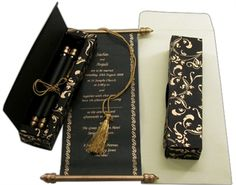 S384, Black Color, Scroll Invitations, Jewish Invitations