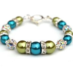 Turquoise and Lime Green Bling Bracelet Bridesmaid by AMIdesigns, $24.00