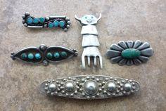 Vintage Navajo Brooches/Pins Set of 5 1950s+
