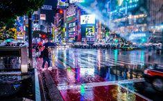Download wallpapers Tokyo, night city, rain, skyscrapers, metropolis, people, Japan