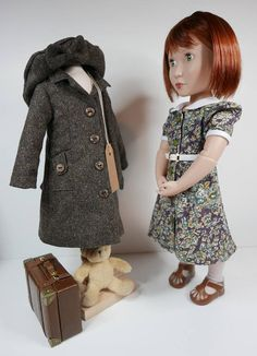 1940 style wool coat and floral print  dress for a girl for all time dolls