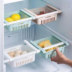 Organize your fridge like a pro!  Save space and keep your food fresh with this adjustable refrigerator storage rack.  Just attach them to your refrigerator shelves using the clips and slide them out to get food conveniently, just like a drawer! refrigerator side storage rack, fridge organizer, fridge shelves, fridge organizers, how to organize fridge, fridge organization ideas, fridge organisation containers, #refrigerator #fridge #organizefridge