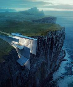 #architecture_hunter Cliff Retreat: breathtaking render by Alex Hogrefe @visualizing_architecture Via my good friend @architectdesigne