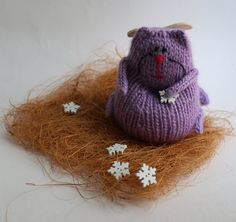 Knitted Lavander Angel Cat by LeSiCraft on Etsy