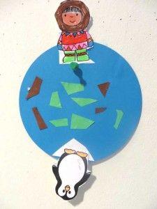 Aarde met Noordpool en Zuidpool knutsel. Kinderen leren het verschil tussen de Noordpool en Zuidpool, kleuteridee.nl