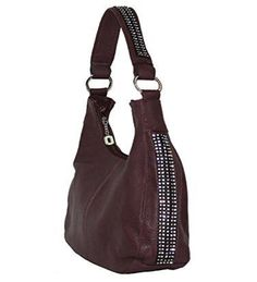 Roma Leathers 8001 Wine Rhinestone Left and Right Concealed Purse