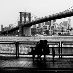 Kissing under the Brooklyn Bridge on the Promenade! One of our favorite spots!