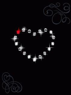 Corazón animado con diamantes y strass brillante para San Valentín.