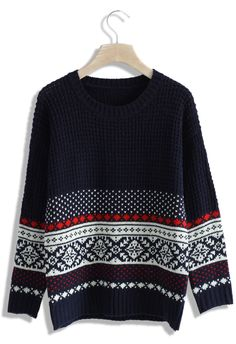 Waffle Knit Fairisle Sweater - Sweaters - Tops - Retro, Indie and Unique Fashion