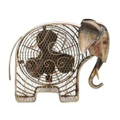 7 in. Figurine Fan -Elephant