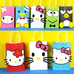 DIY Hello Kitty and My Melody and Friends Party Favor Bags.  Simply Download, Print, Cut and Paste. Print as many copies as you need.