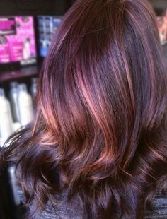 Balayage hair, haircolor, plum hair colour, new hair colors, brown hair colors Burgundy Hair With Highlights, Hair Color Highlights, Hair Color Balayage, Purple Balayage, Ombre Rose Gold, Cabelo Rose Gold, Purple Rose, Rose Gold Brown Hair, Violet Brown