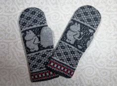 Moomin Knitting Pattern : Hand-made adult mittens with moomin pattern by LanaNere on Etsy Knit Slouchy Hat Pattern, Baby Hat Knitting Pattern, Fair Isle Knitting Patterns, Mittens Pattern, Knit Mittens, Newborn Knit Hat, Beading Patterns Free, Tove Jansson, Crochet