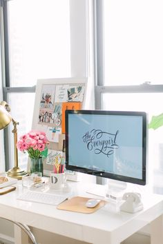 My Home Tour on The Everygirl! Love the gold lamp, lucite stationery, cup, pin board