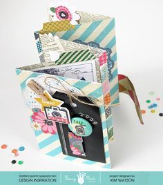 Gorgeous Mini by Kim Watson for Fancy Pants Designs and with FREE cut file! Mini Scrapbook Albums, Scrapbook Paper Crafts, Scrapbook Pages, Ideas Scrap, Book Making, Card Making, Mini Books, Flip Books, Mini Album Tutorial