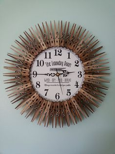 This gorgeous 14 hand-crafted clock is so pretty that youll almost enjoy hanging out in the laundry room. *Please check out the rest of my shop, Items packaged together = free shipping on one of the items