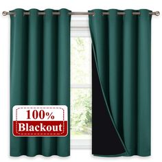 NICETOWN Blackout Curtains with Black Liners, Thermal Insulated Lined Drapes, Room Cooling Small Window Draperies for Dining Room (Hunter Green, 2 Panels, 52 inches W by 54 inches L) Glass Door Curtains, Patio Door Curtains, Green Curtains, Velvet Curtains, Curtains With Blinds, Curtains Dunelm, Grommet Curtains, Insulated Curtains, Thermal Curtains