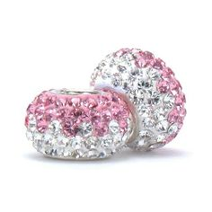 Set of 2 - Bella Fascini Pink & Clear Half & Half Crystal Pave Sparkle Bling - Solid .925 Sterling Silver Core European Charm Bead Made with Authentic Swarovski Crystals - Compatible Brand Bracelets : Authentic Pandora, Chamilia, Moress, Troll, Ohm, Zable, Biagi, Kay's Charmed Memories, Kohl's, Persona & more! Bella Fascini Beads,http://www.amazon.com/dp/B00BE7H5NS/ref=cm_sw_r_pi_dp_gPIPsb168QH7G9RZ