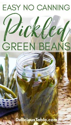 Quick Pickled Vegetables, Canning Vegetables, Veggies, Pickeled Green Beans, Vegetable Dishes, Vegetable Recipes, Can Green Beans, Canning Pickles, Diner Recipes