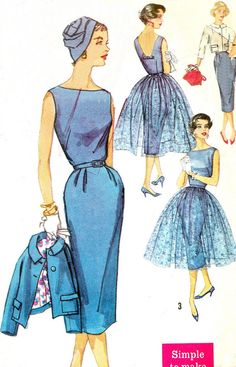 1950s Evening Dress Pattern Simplicity 2370 Sleeveless Low Back Sheath Dress Sheer Overlay and Jacket Womens Vintage Sewing Pattern Bust 33...