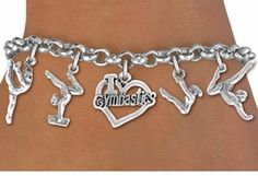 <Br>              EXCLUSIVELY OURS!!<Br>        AN ALLAN ROBIN DESIGN!!<Br>             LEAD & NICKEL FREE!! <Br>W21774B - SILVER TONE GYMNASTICS <BR>    THEMED FIVE CHARM BRACELET <BR>        FROM $7.31 TO $16.25  ©2015