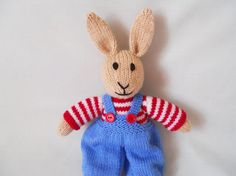 Rabbit Hand Knitted Rabbit Bob the dressed Bunny by littledazzler