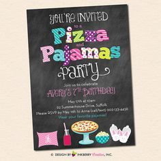 Pizza and Pajamas Party Invitation  Chalkboard von inkberrycards