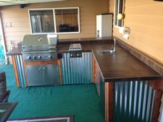 Complete Outdoor Kitchen By Sunset Living Llc Wood Corrugated Metal With Stainless