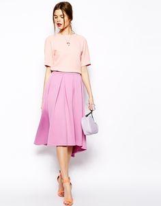 Image 1 ofASOS Scuba Skirt With High Low Hem