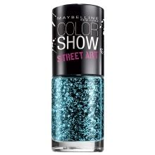 Maybelline Color Show Street Art Top Coat Blue Beats | Wear these sparkly blue nails on your next night out! Get more polish colors at Walgreens.com.