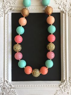 Coral, aqua and gold bubblegum necklace by LilchicboutiqueLIC on Etsy