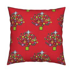 Starry ChristmasRed Square Pillow by menny | Roostery Home Decor