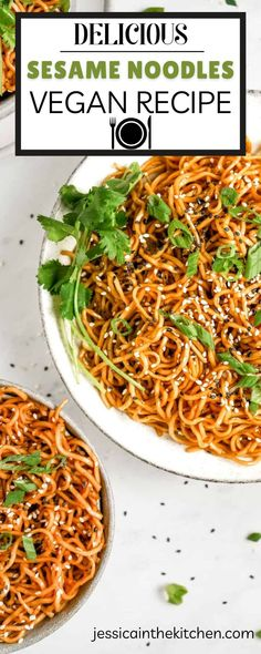 Sesame Noodles are sure to be your new favorite side dish! Want to save time in the kitchen? Try this vegan sesame noodles recipe for a quick and easy dish. The ingredients are simple, but they come together to make an amazing meal. With just 15 minutes of prep time needed, you'll have more time to spend with friends or family instead of cooking up dinner! Vegetarian Lunch, Vegetarian Recipes Easy, Vegan Dinner Recipes, Delicious Vegan Recipes, Vegan Dinners, Brunch Recipes, Asian Recipes, Vegan Casserole, Easy Vegan Dinner