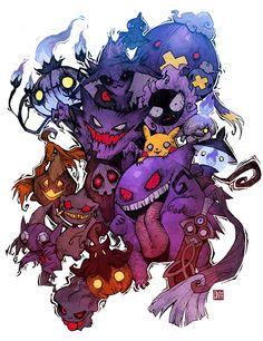 Ghost Type Pokemon - Halloween Special by einlee. Pokemon Gengar, Fan Art Pokemon, Ghost Type Pokemon, Pokemon Poster, Pokemon Tattoo, Gengar Tattoo, Charizard, Pokemon Halloween, Creepy Pokemon