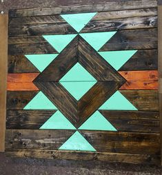 Hand crafted Aztec wood wall decor about in Wood Wall Decor, Wooden Wall Art, Diy Wall Art, Wood Art, Room Decor, Diy Holz, Geometric Wall, Wood Patterns, Barn Quilts