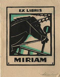 Adrian FEINT bookplate for Miriam. (1927)