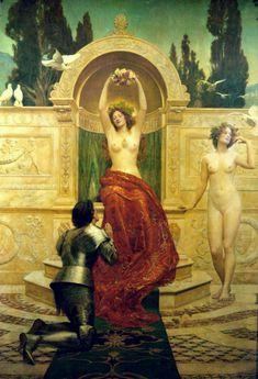 Tannhäuser en el Venusberg, de John Collier (1901): un decorado dorado distintivo del quattrocento italiano