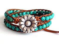 Turquoise Leather Wrap Bracelet by TaphiaDesigns on Etsy, $40.00