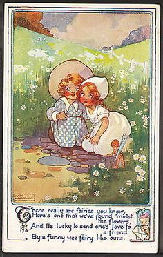 "Signed Agnes Richardson ""There Really Are Fairies"" Raphael Tuck Postcard 3244"