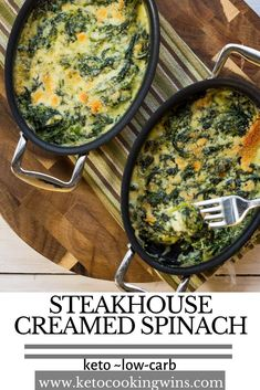 It's creamy it's cheesy it's loaded with flavor and it has NONE of the carbs of a regular dish making this Steakhouse. Cooked Spinach Recipes, Cook Fresh Spinach, Keto Creamed Spinach, Vegetable Recipes, Recipes With Fresh Spinach, Steakhouse Creamed Spinach Recipe, Sauteed Spinach, Kale Recipes, Bean Recipes