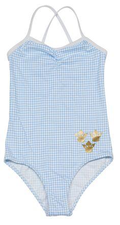 light blue white checks swimsuit for girls Kids Bathing Suits, Kids Suits, Kids Swimwear, One Piece Swimwear, Baby Girl Swimsuit, Luxury Swimwear, Tween Girls, Baby Girls, Cute Swimsuits