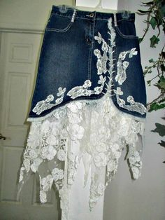 Ruffled lace jean skirt white rose lace vintage lace ruffle stretch denim asymmetrical fairy hem upcycled bohemian Renaissance Denim Couture - Jean Skirts - Ideas of Jean Skirts Denim And Lace, Lace Jeans, Denim Vintage, Vintage Lace, Sewing Clothes, Diy Clothes, White Skirts, Mini Skirts, Jean Skirts