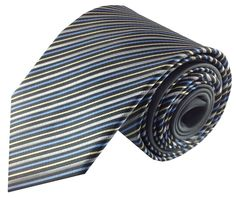 Grey Blue Yellow and Silver Stripe Contrast Knot Men's Necktie