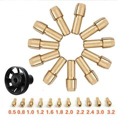 7pc Brass Collets M8*0.75 Chuck Rotary Drill Bit Milling Mill Pin Vice Nut Tool