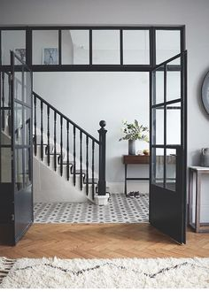 Crittall-style has been staging a comeback – and not just as windows and doors, but as walls, rear extensions, room dividers and even shower screens. Crittal Doors, Crittall Windows, Flur Design, Hallway Designs, Hallway Ideas, Room Doors, The Doors, Windows And Doors, Iron Windows