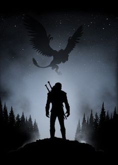 witcher gaming griffin geralt silhouette